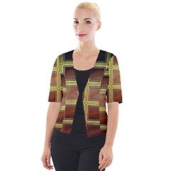Drawing Of A Color Fractal Window Cropped Button Cardigan by Jojostore