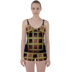 Drawing Of A Color Fractal Window Tie Front Two Piece Tankini