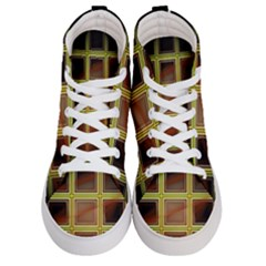 Drawing Of A Color Fractal Window Men s Hi Top Skate Sneakers