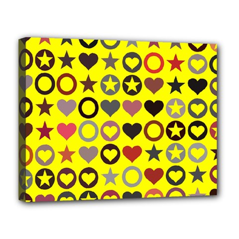 Heart Circle Star Seamless Pattern Canvas 14  X 11  (stretched)