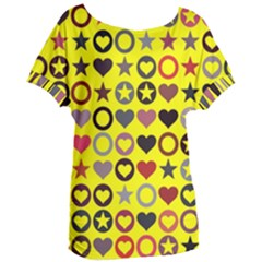 Heart Circle Star Seamless Pattern Women s Oversized Tee by Jojostore
