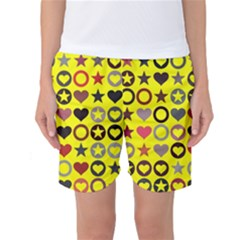 Heart Circle Star Seamless Pattern Women s Basketball Shorts