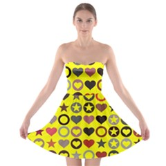 Heart Circle Star Seamless Pattern Strapless Bra Top Dress