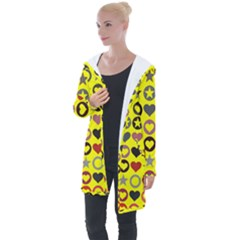 Heart Circle Star Seamless Pattern Longline Hooded Cardigan