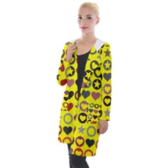Heart Circle Star Seamless Pattern Hooded Pocket Cardigan