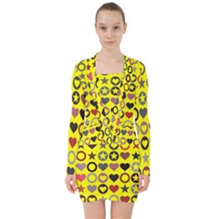 Heart Circle Star Seamless Pattern V Neck Bodycon Long Sleeve Dress