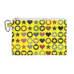 Heart Circle Star Seamless Pattern Canvas Cosmetic Bag (large) by Jojostore