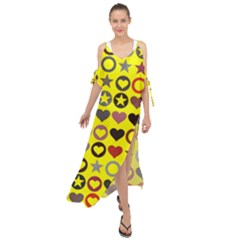 Heart Circle Star Seamless Pattern Maxi Chiffon Cover Up Dress by Jojostore