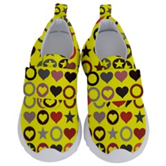 Heart Circle Star Seamless Pattern Velcro Strap Shoes