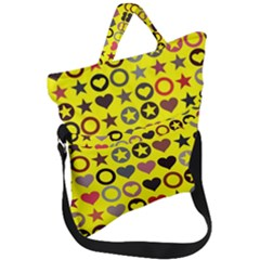 Heart Circle Star Seamless Pattern Fold Over Handle Tote Bag by Jojostore