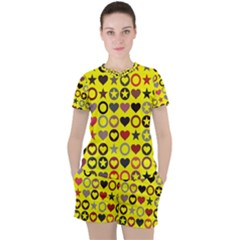 Heart Circle Star Seamless Pattern Women s Tee And Shorts Set