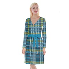 Playing With Plaid Kitten (blue) Pattern Long Sleeve Velvet Front Wrap Dress