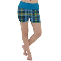 Playing With Plaid Kitten (blue) Pattern Lightweight Velour Yoga Shorts