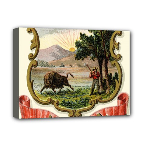 Historical Coat Of Arms Of Indiana Deluxe Canvas 16  X 12  (stretched)