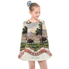 Historical Coat Of Arms Of Indiana Kids  Long Sleeve Dress