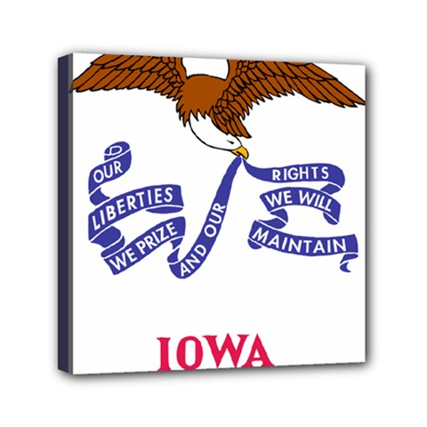 Flag Map Of Iowa Mini Canvas 6  X 6  (stretched)