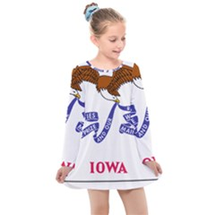 Flag Map Of Iowa Kids  Long Sleeve Dress