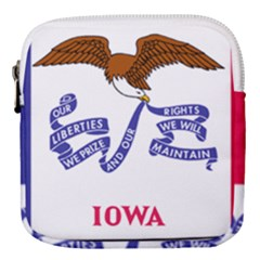 Flag Map Of Iowa Mini Square Pouch by abbeyz71