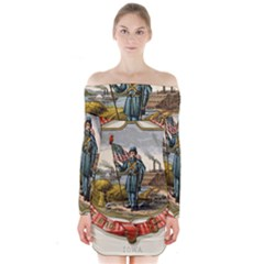 Historical Coat Of Arms Of Iowa Long Sleeve Off Shoulder Dress