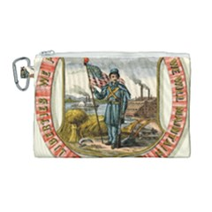 Historical Coat Of Arms Of Iowa Canvas Cosmetic Bag (large) by abbeyz71