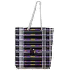 Playing With Plaid Kitten (purple) Halloween Pattern Full Print Rope Handle Tote (large) by emilyzragz
