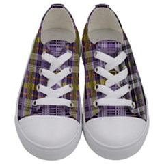 Playing With Plaid Kitten (purple) Halloween Pattern Kids  Low Top Canvas Sneakers