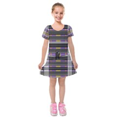 Playing With Plaid Kitten (purple) Halloween Pattern Kids  Short Sleeve Velvet Dress by emilyzragz