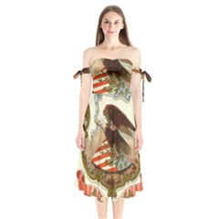 Historical Coat Of Arms Of Alabama Shoulder Tie Bardot Midi Dress