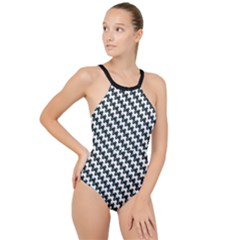 Massaging Kitties Houndstooth Pattern High Neck One Piece Swimsuit
