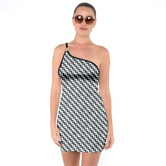 Massaging Kitties Houndstooth Pattern One Soulder Bodycon Dress