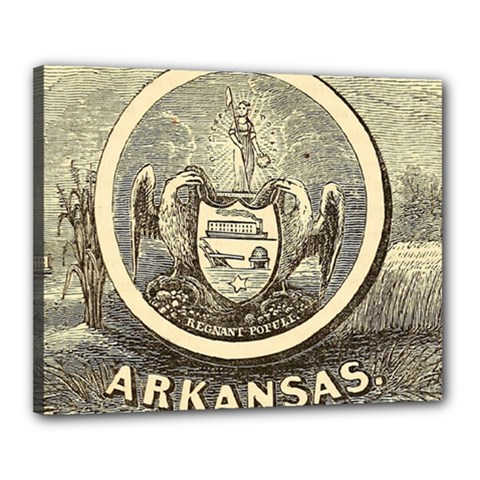 State Seal Of Arkansas, 1853 Canvas 20  X 16  (stretched) by abbeyz71