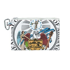 State Seal Of Arkansas Canvas Cosmetic Bag (medium) by abbeyz71