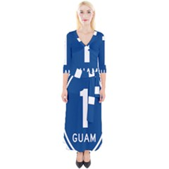 Guam Highway 1 Route Marker Quarter Sleeve Wrap Maxi Dress