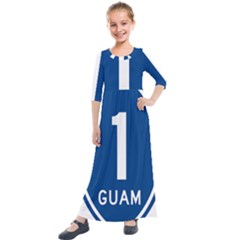 Guam Highway 1 Route Marker Kids  Quarter Sleeve Maxi Dress by abbeyz71