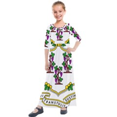 Coat Of Arms Of Connecticut Kids  Quarter Sleeve Maxi Dress by abbeyz71