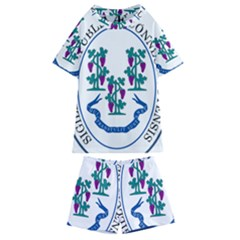 Great Seal Of Connecticut Kids  Swim Tee And Shorts Set