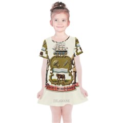 Historical Coat Of Arms Of Delaware Kids  Simple Cotton Dress