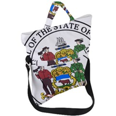 Great Seal Of Delaware Fold Over Handle Tote Bag