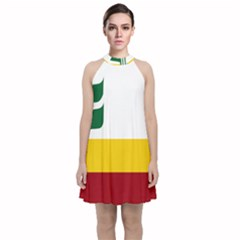 Flag Of Franco Manitobans Velvet Halter Neckline Dress