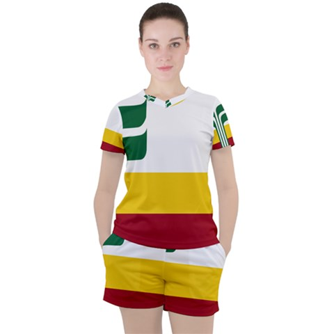 Flag Of Franco-manitobans Women s Tee And Shorts Set by abbeyz71