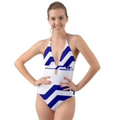 Flag Of The Franco Columbians Halter Cut Out One Piece Swimsuit
