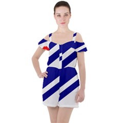 Franco-albertan Flag Ruffle Cut Out Chiffon Playsuit