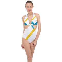 Flag Of The Franco Yukonnais Halter Front Plunge Swimsuit