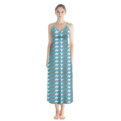 Swan Herd Houndstooth Pattern  Button Up Chiffon Maxi Dress
