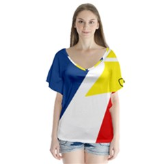 Franco Terreneuviens Flag V Neck Flutter Sleeve Top