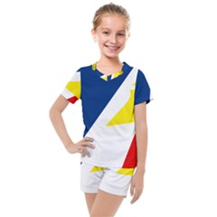 Franco Terreneuviens Flag Kids  Mesh Tee And Shorts Set