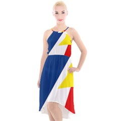 Franco Terreneuviens Flag High Low Halter Chiffon Dress