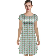 Amphibians Hopping Houndstooth Pattern Cap Sleeve Nightdress