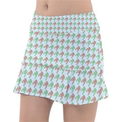 Amphibians Hopping Houndstooth Pattern Tennis Skirt