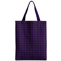 Luv Machine Robot Houndstooth Pattern (purple) Zipper Classic Tote Bag